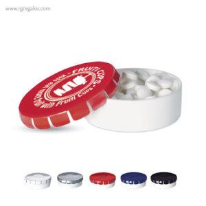 Caja redonda de caramelos menta - RG regalos publicitarios