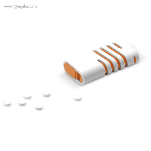 Dispensador de mentolados naranja cerrado - RG regalos publicitarios