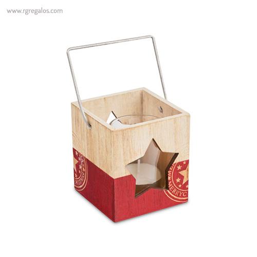 Portavela de madera Navidad roja - RG regalos publicitarios