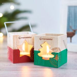 Portavela de madera Navidad roja bodegón - RG regalos