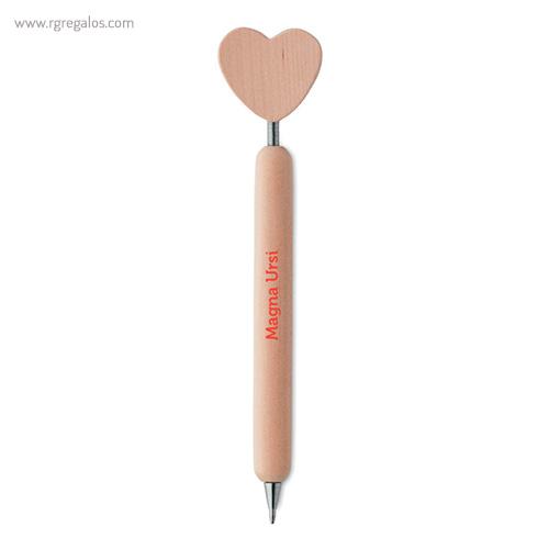 Bolígrafo madera con corazón - RG regalos publicitarios