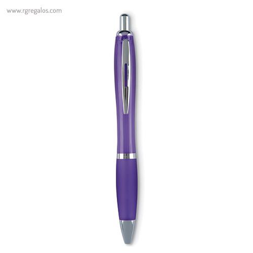 Bolígrafo plástico puntera blanda violeta - RG regalos publicitarios