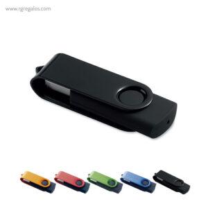 Memoria USB goma negra y metal - RG regalos publicitarios