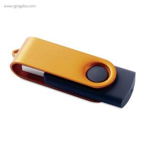 Memoria USB goma negra y metal naranja - RG regalos publicitarios