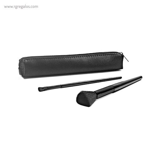 Set dos brochas maquillaje aluminio negro - RG regalos publicitarios