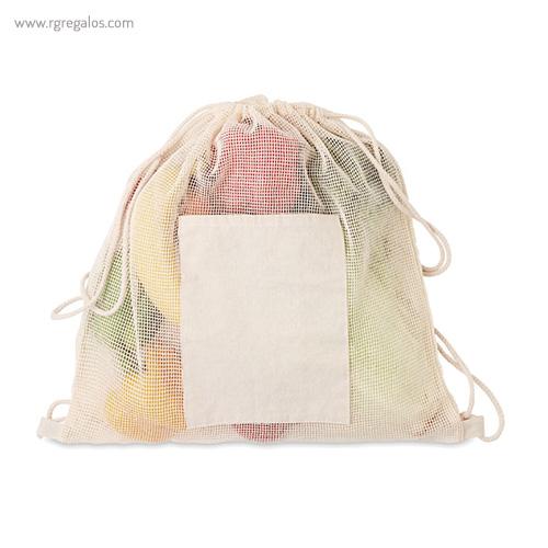 Bolsa algodón malla cuerdas bolsillo - RG regalos publicitarios