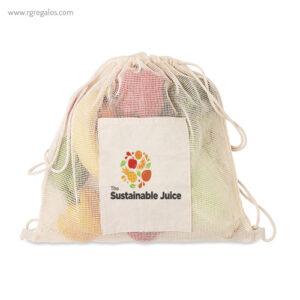 Bolsa algodón malla cuerdas bolsillo logo - RG regalos publicitarios