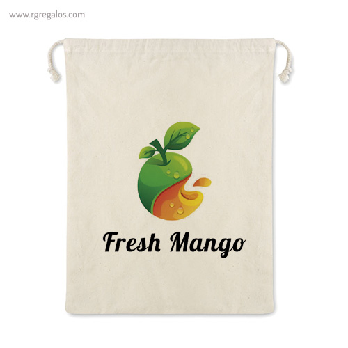 Bolsa rejilla algodón para comida logo - RG regalos de empresa