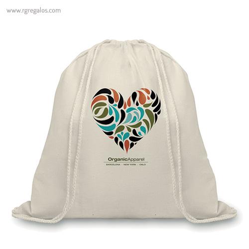 Mochila saco algodón orgánico logo - RG regalos publicitarios