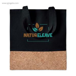 Bolsa combinación corcho y algodón negra logo - RG regalos publicitarios
