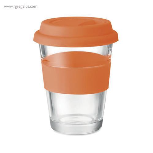 Vaso de cristal y silicona naranja - RG regalos publicitarios