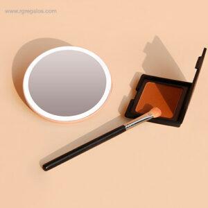 Espejo luz maquillaje de mano rosa - RG regalos promocional