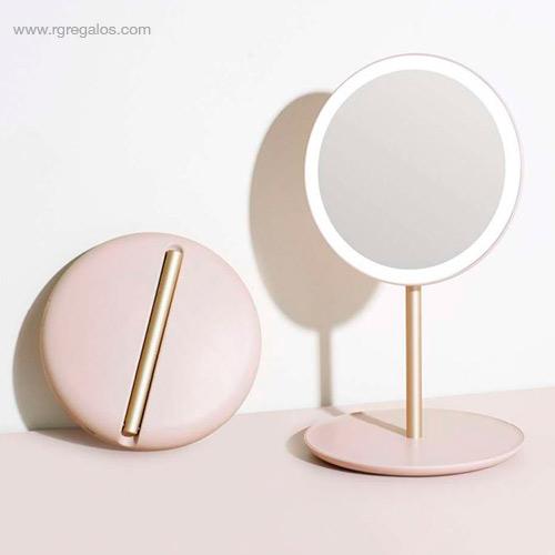 Espejo luz maquillaje viaje rosa - RG regalos