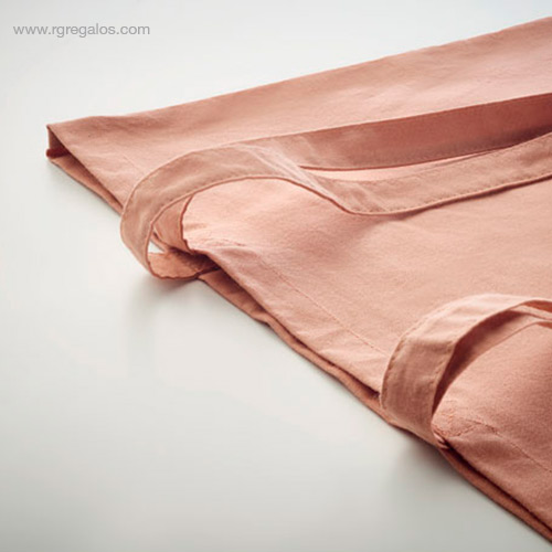 Bolsa algodón orgánico colores naranja detalle - RG regalos