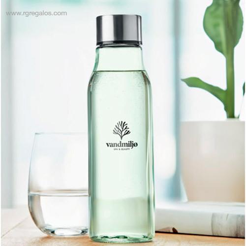 Botella-de-cristal-500-ml-verde-transparente-logo-RG-regalos