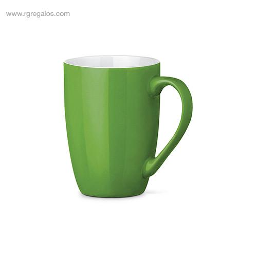 Taza cerámica colores 370 ml verde - RG regalos publicitarios