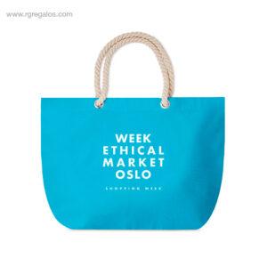 Bolsa-de-playa algodón-logo-turquesa-RG-regalos