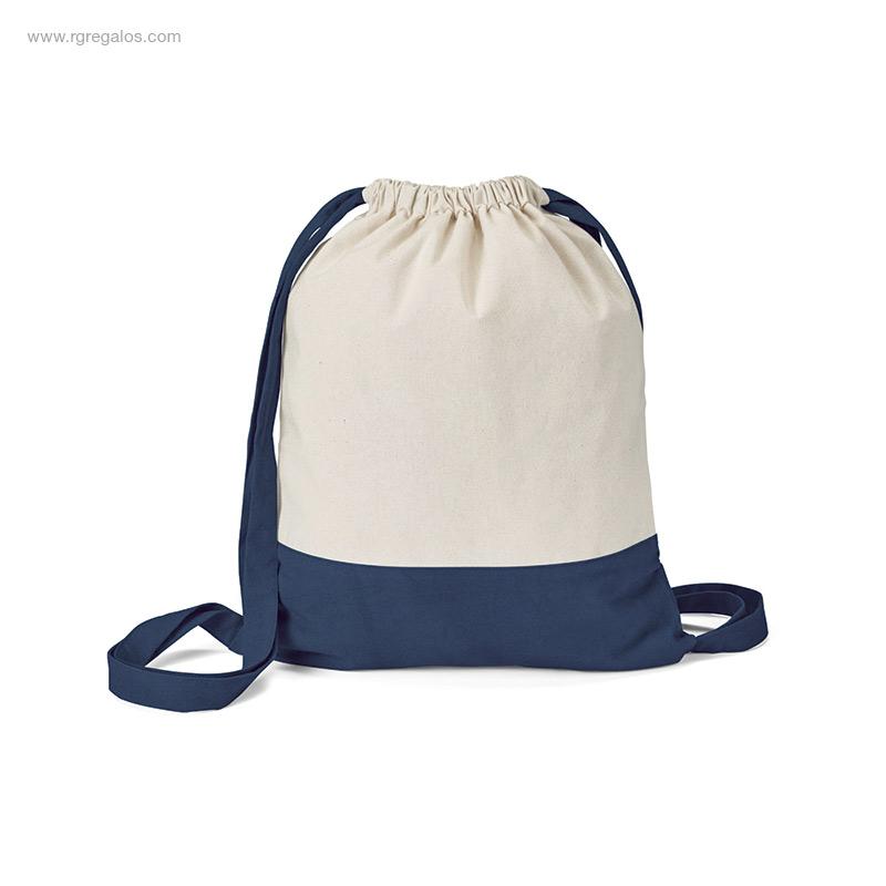 Mochila-saco-algodón-bicolor azul-RG-regalos