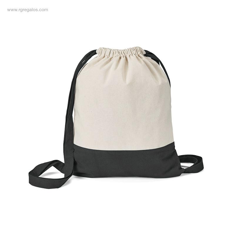 Mochila-saco-algodón-bicolor negra-RG-regalos