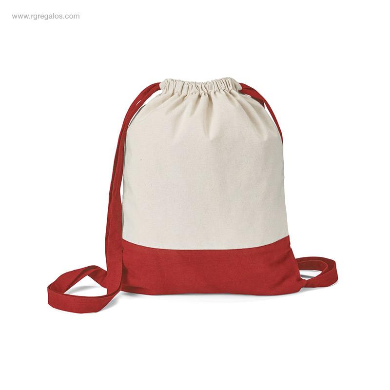 Mochila-saco-algodón-bicolor roja-RG-regalos