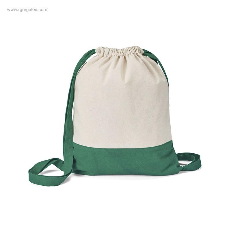 Mochila-saco-algodón-bicolor verde-RG-regalos
